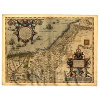 Dolls House Miniature Old Map Of Palestine From The Late 1500s