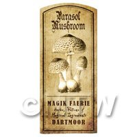 Dolls House Miniature Apothecary Parasol Mushroom Label