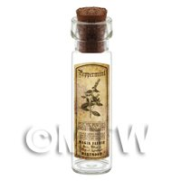 Dolls House Apothecary Peppermint Herb Long Sepia Label And Bottle