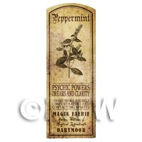 Dolls House Herbalist/Apothecary Peppermint Herb Long Sepia Label