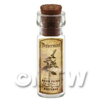 Dolls House Apothecary Peppermint Herb Short Sepia Label And Bottle