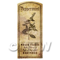 Dolls House Herbalist/Apothecary Peppermint Herb Short Sepia Label
