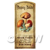 Dolls House Miniature Apothecary Peppery Bolete Fungi Colour Label