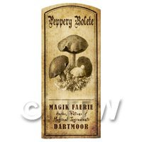 Dolls House Miniature Apothecary Peppery Bolete Fungi Label