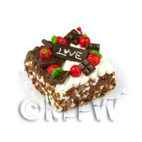 Dolls House Miniature Double Chocolate Love Cake