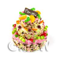 Dolls House Miniature - Miniature 3 Tier Celebration Cake topped with Candied Fruit and Sprinkles
