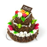 Chocolate Smothered Miniature 3 Tier Fondant Rose Celebration Cake