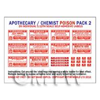 Dolls House Miniature Poison Label Pack 2