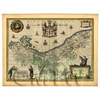 Dolls House Miniature Old Map Of Pomerania From The Late 1500s