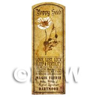 Dolls House Herbalist/Apothecary Poppy Seed Herb Long Sepia Label
