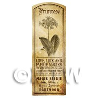 Dolls House Herbalist/Apothecary Primrose Herb Long Sepia Label