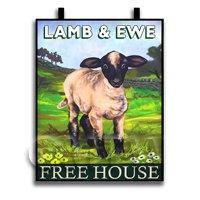 Dolls House Miniature Pub / Tavern Sign - Ewe And Lamb