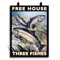 Dolls House Miniature Pub / Tavern Sign - The Three Fishes