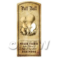 Dolls House Miniature Apothecary Puff Ball Fungi Label