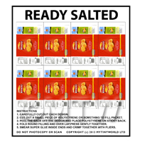 Dolls House Miniature Packaging Sheet of 8 Walkers Ready Salted Crisps