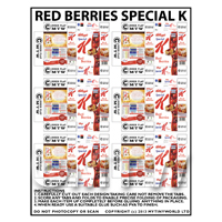 Dolls House Miniature Packaging Sheet of 6 Red Berries Special K
