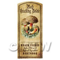 Dolls House Miniature Apothecary Red Cracking Bolete Fungi Colour Label