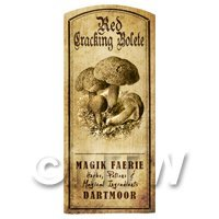 Dolls House Miniature Apothecary Red Cracking Bolete Fungi Label