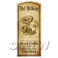 Dolls House Miniature Apothecary Red Milk Cap Fungi Label
