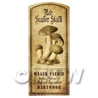 Dolls House Miniature Apothecary Red Scaber Stalk Fungi Label