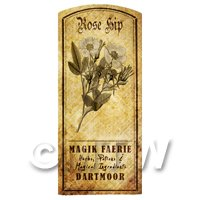 Dolls House Herbalist/Apothecary Rose Hip Herb Short Sepia Label