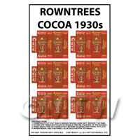 Dolls House Miniature Packaging Sheet of 6 Rowntrees Cocoa 1930s