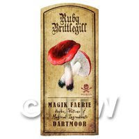 Dolls House Miniature Apothecary Ruby Brittlegill Fungi Colour Label