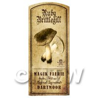 Dolls House Miniature Apothecary Ruby Brittlegill Fungi Label