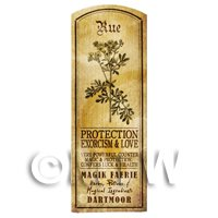 Dolls House Herbalist/Apothecary Rue Herb Long Sepia Label