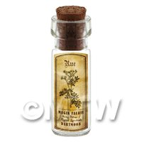 Dolls House Apothecary Rue Herb Short Sepia Label And Bottle