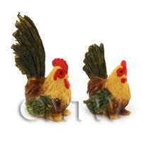 Dolls House Miniature Green And Brown Hen And Cockerel Set