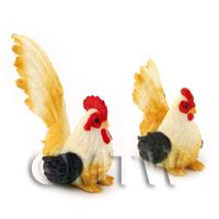 Dolls House Miniature Black, White And Yellow  Hen And Cockerel Set