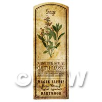 Dolls House Herbalist/Apothecary Sage Herb Long Colour Label