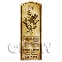 Dolls House Herbalist/Apothecary Sage Herb Long Sepia Label