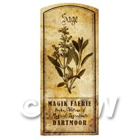 Dolls House Herbalist/Apothecary Sage Herb Short Sepia Label