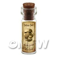 Dolls House Miniature Apothecary Satan Seat Fungi Bottle And Label