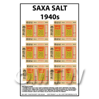 Dolls House Miniature Packaging Sheet of 6 Saxa Salt 1940s