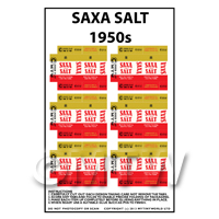 Dolls House Miniature Packaging Sheet of 6 Saxa Salt 1950s