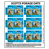 Dolls House Miniature Packaging Sheet of 6 Scotts Porage Oats