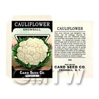 Snowball Cauliflower Dolls House Miniature Seed Packet