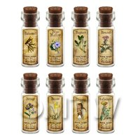 Dolls House Apothecary Short Herb Colour Label And Bottle Set 2