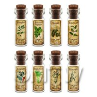 Dolls House Apothecary Short Herb Colour Label And Bottle Set 3