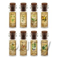 Dolls House Apothecary Short Herb Colour Label And Bottle Set 4