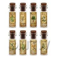 Dolls House Apothecary Short Herb Colour Label And Bottle Set 5
