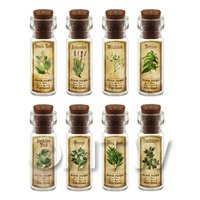 Dolls House Apothecary Short Herb Colour Label And Bottle Set 6