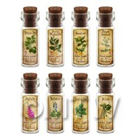 Dolls House Apothecary Short Herb Colour Label And Bottle Set 7