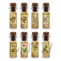 Dolls House Apothecary Short Herb Colour Label And Bottle Set 8