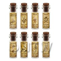 Dolls House Apothecary Short Herb Sepia Label And Bottle Set 1