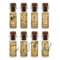 Dolls House Apothecary Short Herb Sepia Label And Bottle Set 2