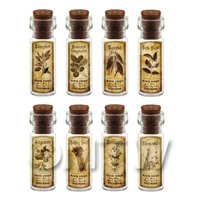 Dolls House Apothecary Short Herb Sepia Label And Bottle Set 3